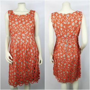 Lela Rose Grey & Orange Overlay Sleeveless Dress 8